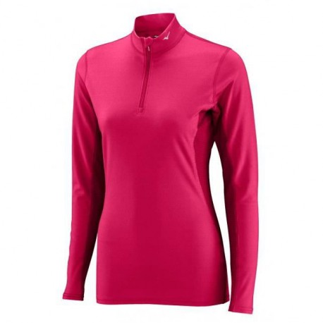 MIZUNO T-shirt Manches Longues Col 1/2 Zip Femme