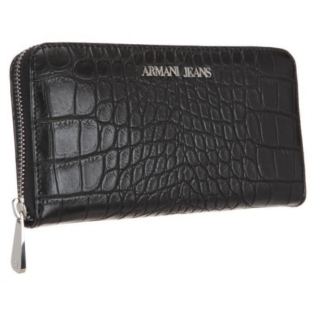 ARMANI JEANS Portefeuille 928032-6A711 Effet Croco Noir Femme