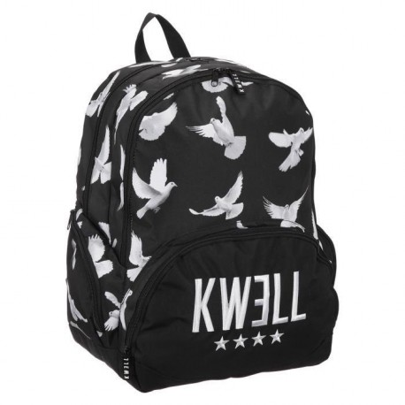 KWELL Sac a Dos BIRDS - 2 Compartiments - 12 a 18 ans - Classe Secondaire - 42 cm - Noir - Enfant Garçon