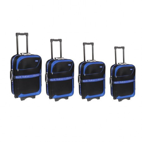 TRAVEL'S Set de 4 Valises Souple 8 Roues 51-61-71-81cm NEW AFRICA Noir et Bleu