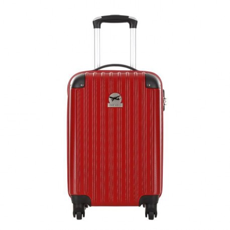 CABINE SIZE Valise Cabine Low Cost Rigide ABS 4 Roues 46cm AHARONI Rouge