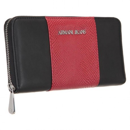 ARMANI JEANS Portefeuille 928032-6A725 Noir et Rouge Femme