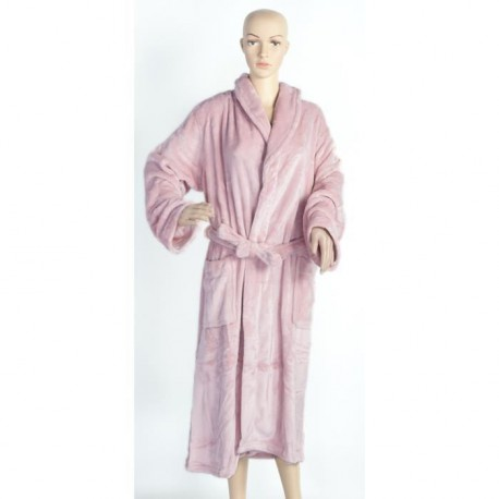 Robe de chambre microfibre grand luxe unie tailles L-XL rose pastel