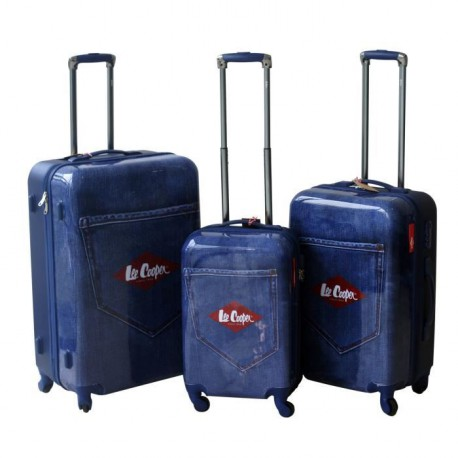 LEE COOPER Set de 3 Valises Rigide ABS & Polycarbonate 4 Roues 49-59-69cm DENIM Bleu