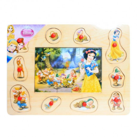 PRINCESS DISNEY Puzzle en bois 6 + 10 pieces