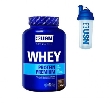 USN Protéine 100% Whey Chocolat 2.28 kg + Pre-entraînement Shaker