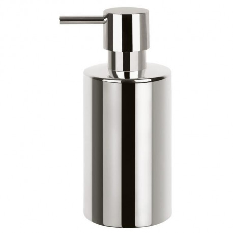 TUBE Distributeur de savon Porcelaine - 16x7x7 cm - Chrome