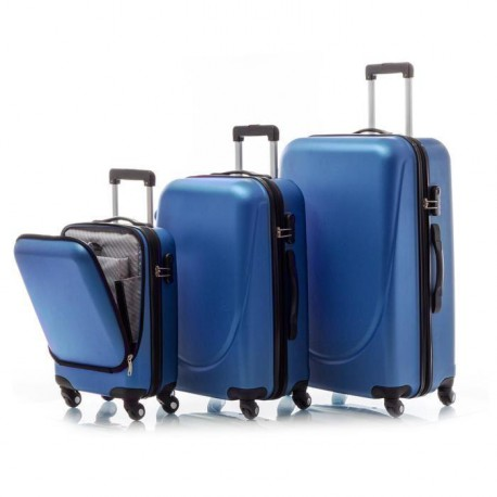 SIESTA DESIGN Set de 3 Valises Rigide ABS 4 Roues S-M-L POCKET Bleu