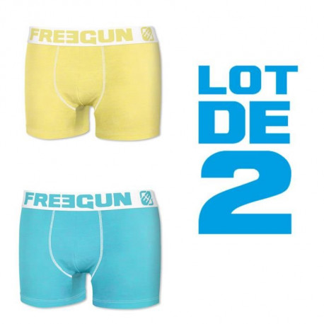 FREEGUN Lot de 2 Boxers Homme Fresh - Jaune / Bleu