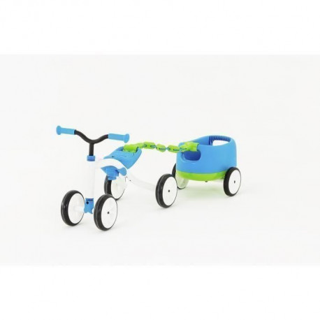 CHILLAFISH Draisienne Combo Quadie+Trailie - 4 Roues - Bleu - 1 a 3 Ans