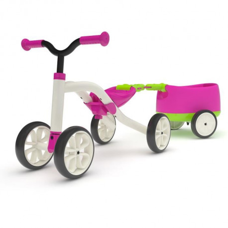 CHILLAFISH Draisienne Combo Quadie+Trailie - 4 Roues - Rose - 1 a 3 Ans
