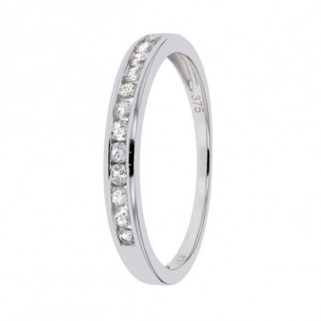MONTE CARLO STAR Demi-alliance Or Blanc 375° et Diamants HSI 0,25 ct Femme