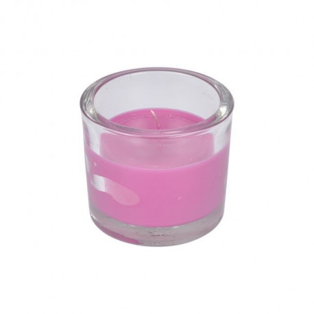 Bougie verrine parfum rose H 8 cm