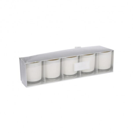 Lot de 5 Bougies verrine - 5,5 x 6,5 cm - Blanc - Ambré