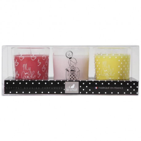 LE CHAT Coffret bougies My Candle Box parfums rose - fruits rouges - vanille - 3 verres