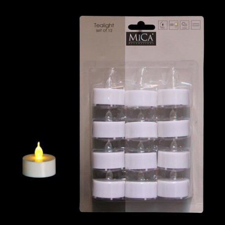 MICA DECORATIONS Lot de 24 bougies déco rechaud - Blanc