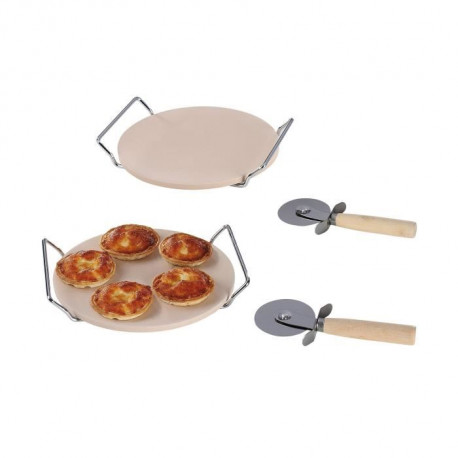 KITCHEN ARTIST MES106 Lot de 2 pierres de cuisson + 2 coupes pizza ? Ø20.5 cm