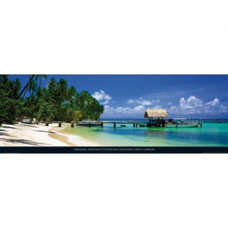 Affiche papier -  Beach and jetty, Tobago   - Mackie  -  33x95 cm