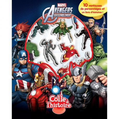 MARVEL AVENGERS Plus de 10 figurines a ventouse - Livre cartonné de 10 pages - Editions Phidal