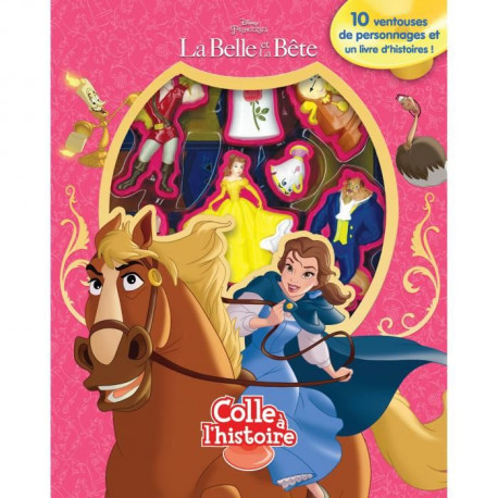 DISNEY LA BELLE ET LA BETE Plus de 10 figurines a ventouse - Livre cartonné de 10 pages - Editions Phidal