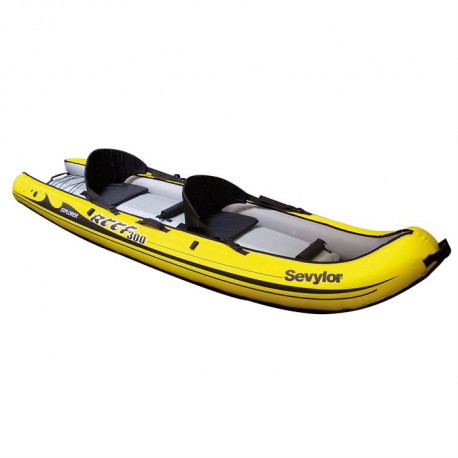 SEVYLOR Kayak Gonflable Sit on Top Reef 300 - 2 places - Jaune et Noir