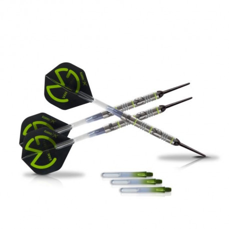"XQ Max Fléchettes de 18 grammes Michael van Gerwen Green Demolisher - 70% tungstene - Pointe ""soft tip"""