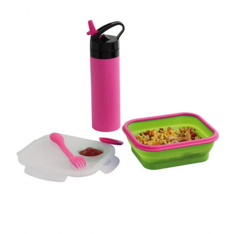 BE NOMAD MEN326P Set lunch box et gourde silicone - Rose