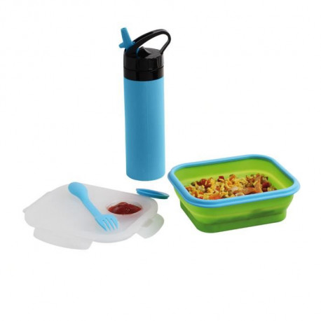BE NOMAD MEN326B Set lunch box et gourde silicone - Bleu