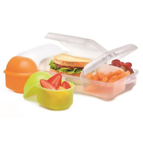 Lunch box 3 compartiments 17x30 cm - Transparent - Plastique