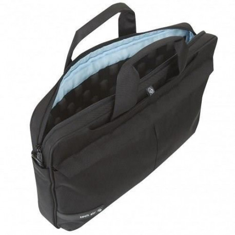 "TECHAIR Sacoche informatique Souple Moderne Premium 15.6"" - Protection Latérale - Attache Trolley - Noire - Doublure Bleue"