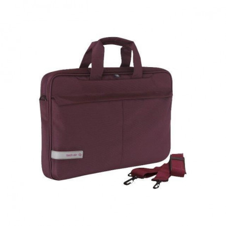"TECHAIR Sacoche informatique Souple Moderne Premium 15.6"" - Protection Latérale - Attache Trolley - Prune"