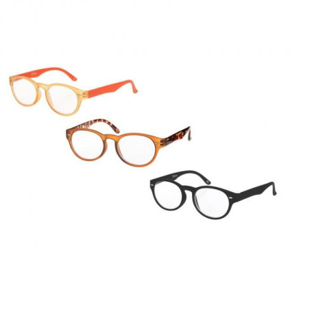 BILBERRY OPTICS Pack 3 paires de lunettes loupes - Dioptrie +2,00 - Noir, orange et marron