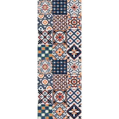 Tapis de salon carreaux de ciment 80x150 cm orange, bleu et blanc