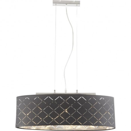 Suspension en nickel mat 3xE27 140x25x65 cm Noir doré